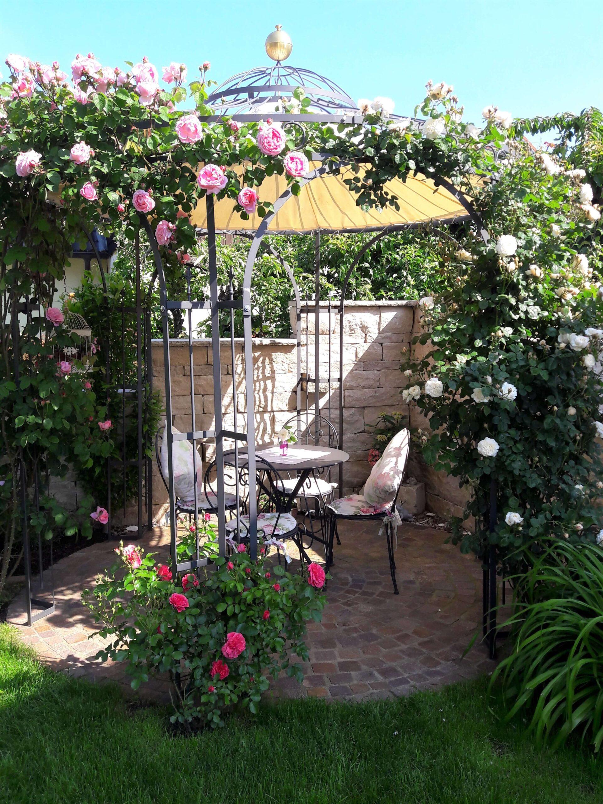 Pavillon Milano mit Messingkugel und Sonnensegel, pulverbeschichtet anthrazit, mit Rosen berankt